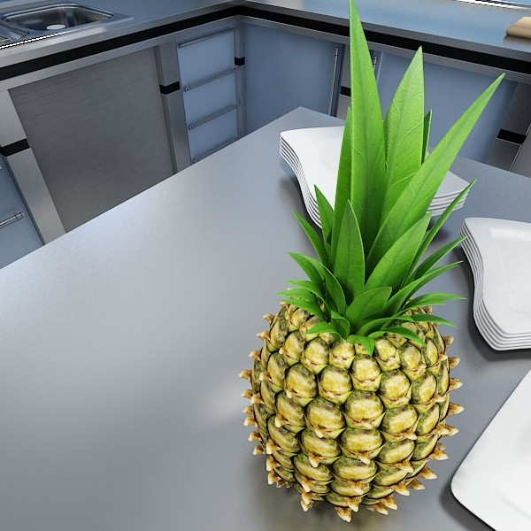 pineapples in wicker basket 10 3d model 3ds max fbx obj 133001