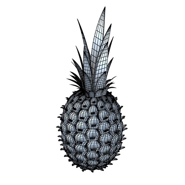 pineapples in wicker basket 10 3d model 3ds max fbx obj 133006