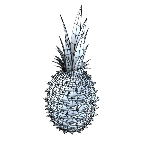 pineapples in wicker basket 10 3d model 3ds max fbx obj 133007
