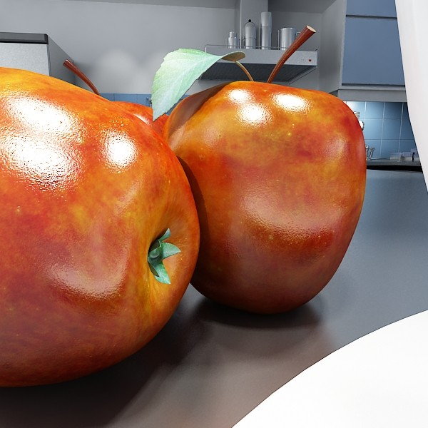 red apple high detail 3d model 3ds max fbx obj 132662