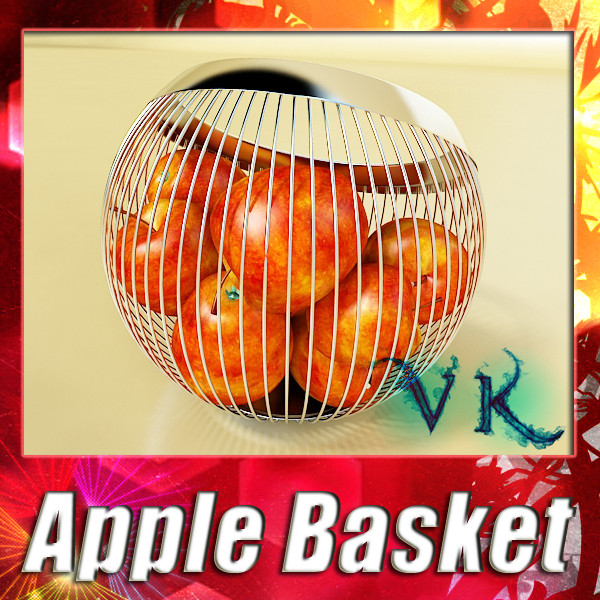 red apples in decorative metal wire container 3d model 3ds max fbx obj 132680