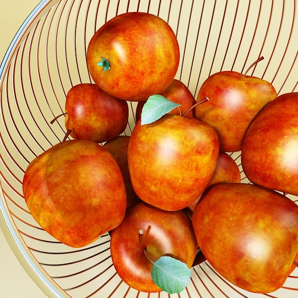 red apples in decorative metal wire container 3d model 3ds max fbx obj 132684