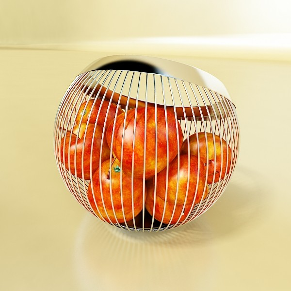 red apples in decorative metal wire container 3d model 3ds max fbx obj 132685