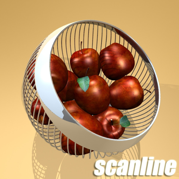 red apples in decorative metal wire container 3d model 3ds max fbx obj 132688