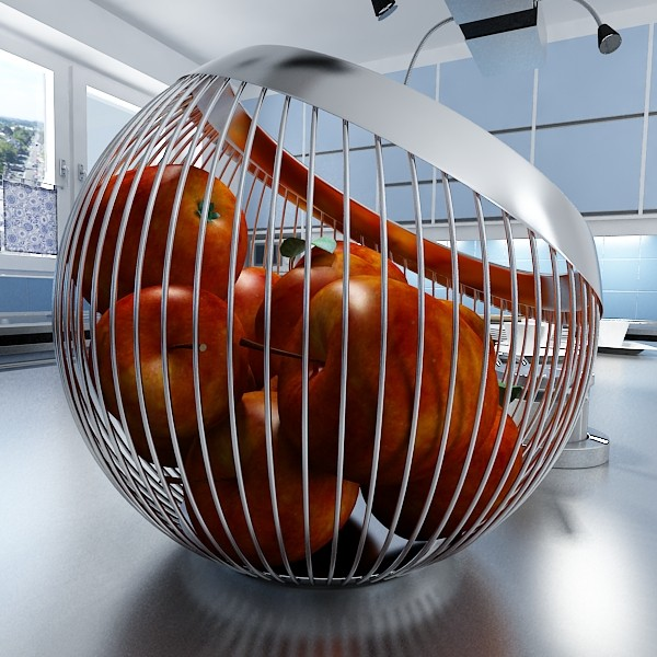 red apples in decorative metal wire container 3d model 3ds max fbx obj 132689