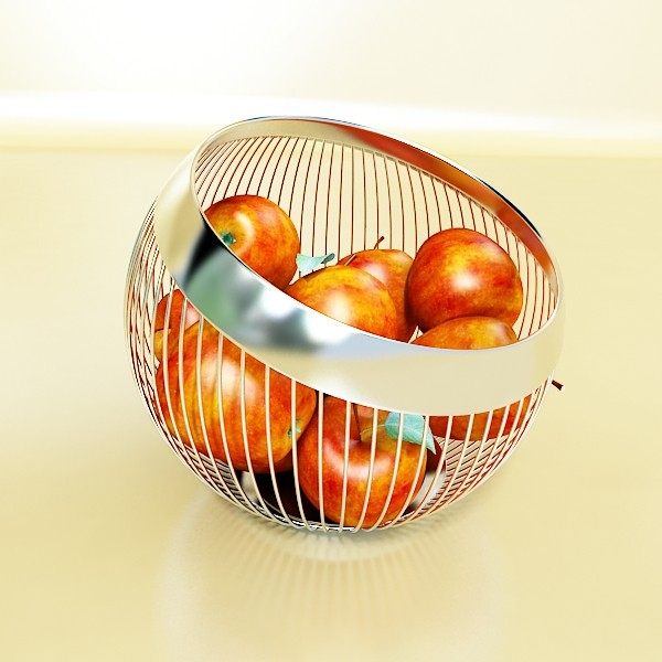 red apples in decorative metal wire container 3d model 3ds max fbx obj 132690