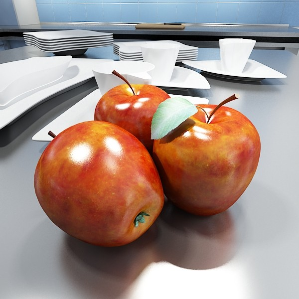 red apples in decorative metal wire container 3d model 3ds max fbx obj 132693