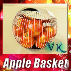 Red Apples in Decorative Metal Wire Container ( 162.3KB jpg by VKModels )