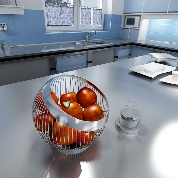 Red Apples in Decorative Metal Wire Container 3D Model | FlatPyramid