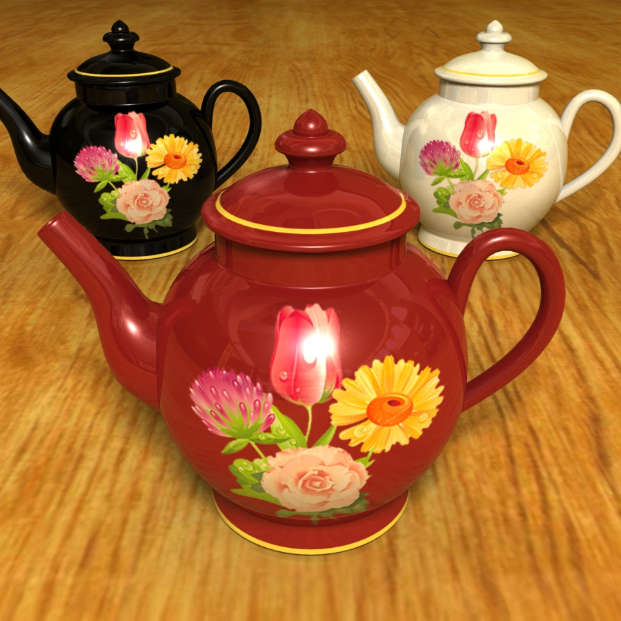 set of 3 tea pots 3d model 3ds max blend br4 obp obj 119341