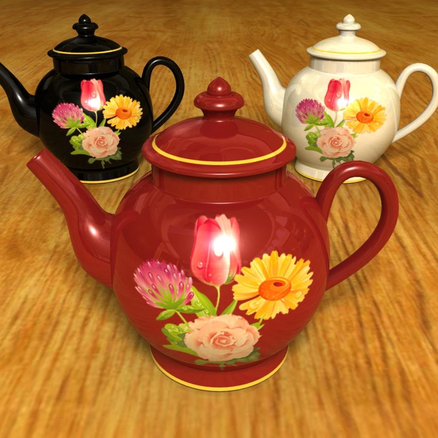 sett af 3 teapottum 3d líkan 3ds max blanda br4 obp obj 119341