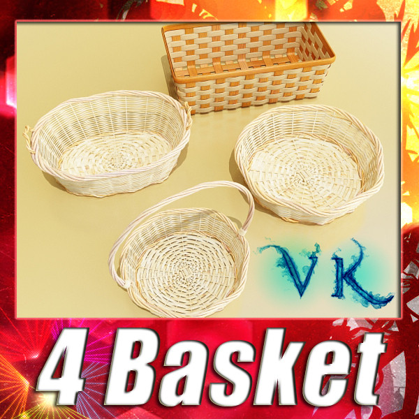 wicker basket collection 4 items 3d model 3ds max fbx obj 133630