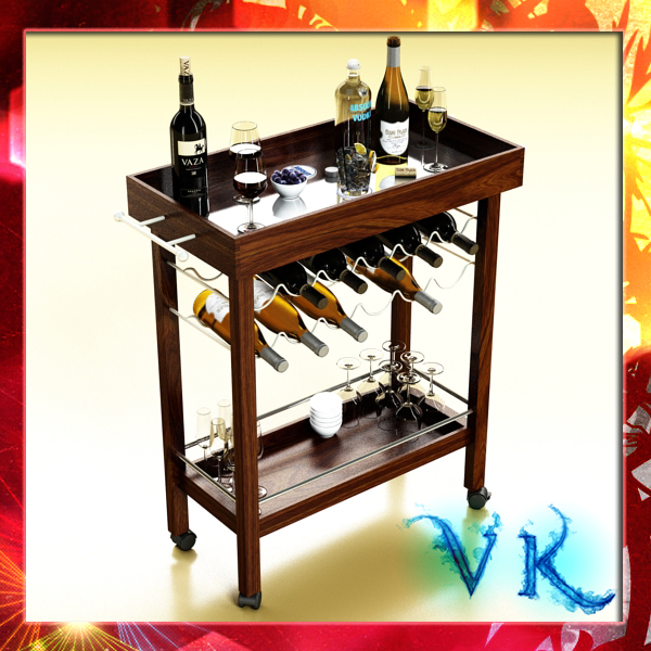 vīna galda plaukts, pudeles un brilles 3d modelis 3ds max fbx obj 146452