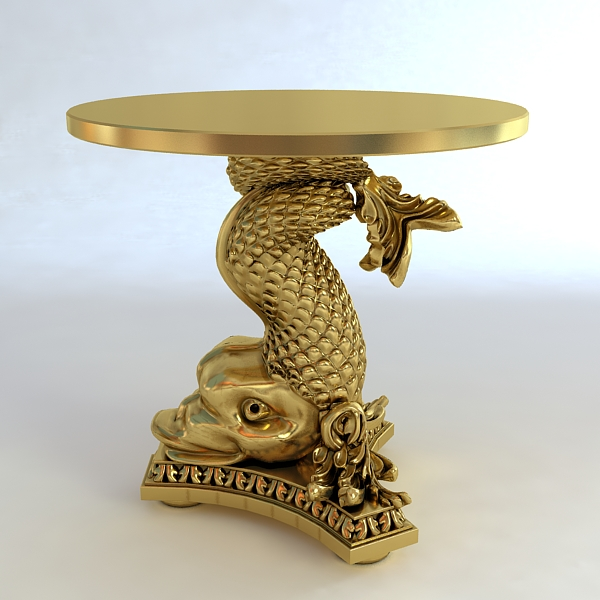 accent table gold fish base 3d model 3ds max fbx obj 120821