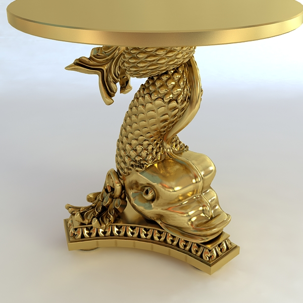 accent table gold fish base 3d model 3ds max fbx obj 120823