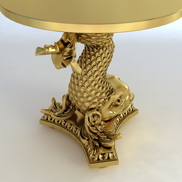 accent table gold fish base 3d model 3ds max fbx obj 120824