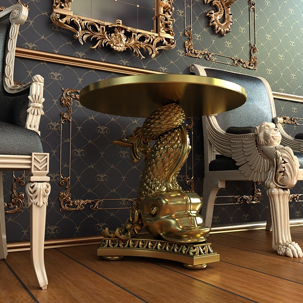accent table gold fish base 3d model 3ds max fbx obj 120825