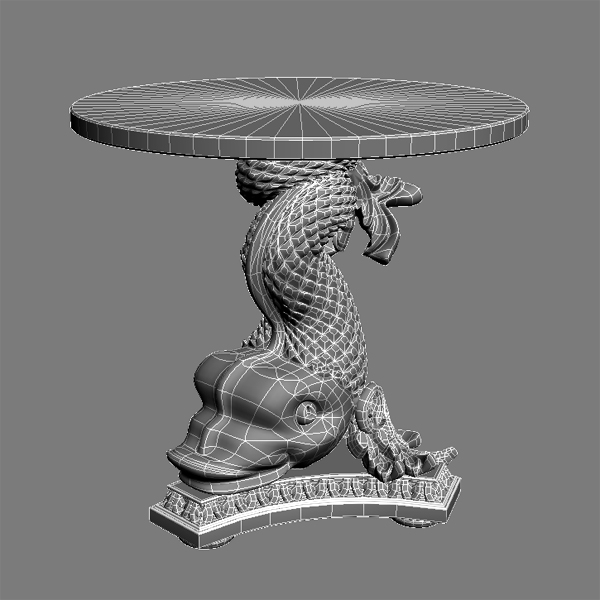 accent table gold fish base 3d model 3ds max fbx obj 120827