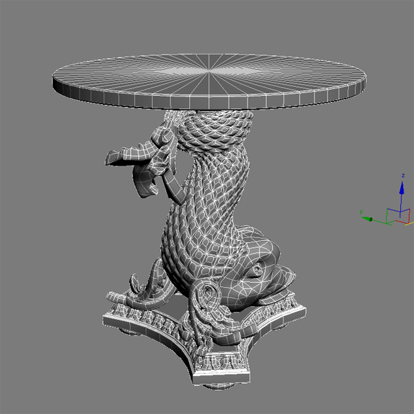 accent table gold fish base 3d model 3ds max fbx obj 120828