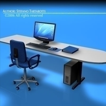office desk 3d model 3ds dxf c4d obj 84471