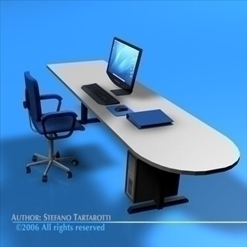office desk 3d model 3ds dxf c4d obj 84473