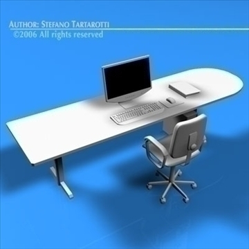 office desk 3d model 3ds dxf c4d obj 84474