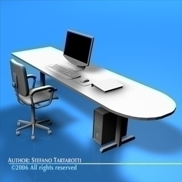 office desk 3d model 3ds dxf c4d obj 84475