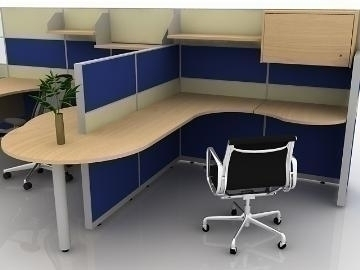Office cubicle design 3d model buy office cubicle design for Office table 3d design