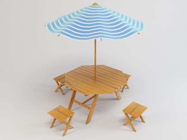 Outdoor Furniture 3d Model Chair Umbrella 3ds Max Fbx Obj Ar Vr