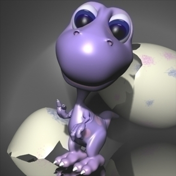 baby dino cartoon rigged 3d model 3ds max fbx obo 107424
