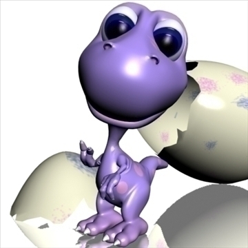 baby dino cartoon rigged 3d model 3ds max fbx lwo obj 107425
