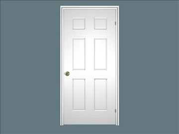 6 panel door 3d model 3ds blend 97557
