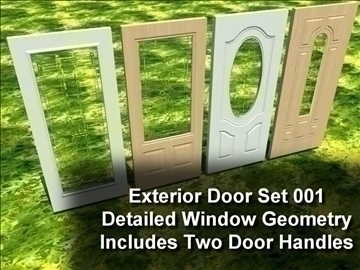 exterior door set 001 3d model 3ds max ma mb 102063