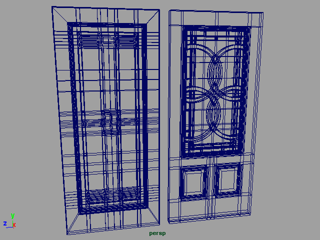exterior door set 001 3d model 3ds max ma mb 102066