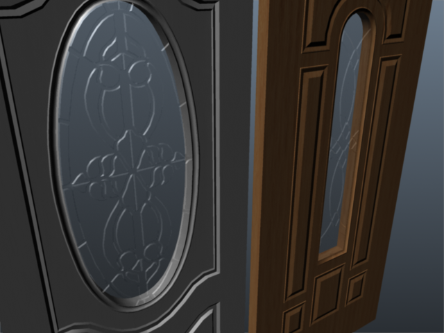 exterior door set 001 3d model 3ds max ma mb 102071