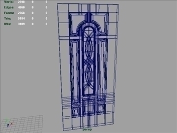 terracourt center arch fiberglass door 3d model 3ds max ma mb 102095