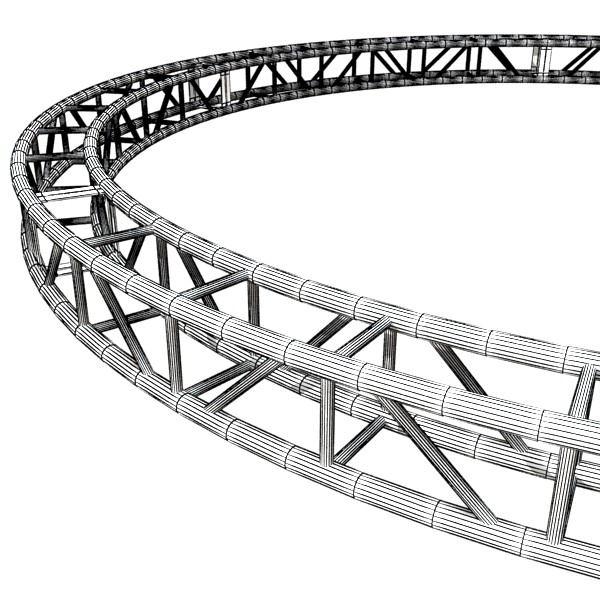 3D Model Circle Truss with Stage Lights High Detai