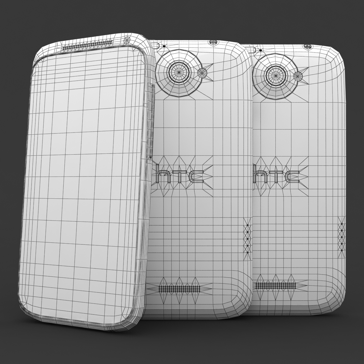 htc one x+ black and white 3d model 3ds max fbx c4d lwo obj 151435