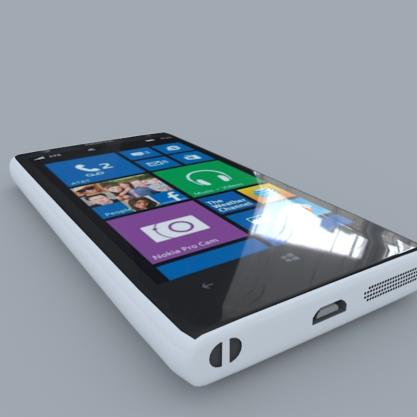 nokia lumia 1020 (white) 3d model 3ds max obj 158172