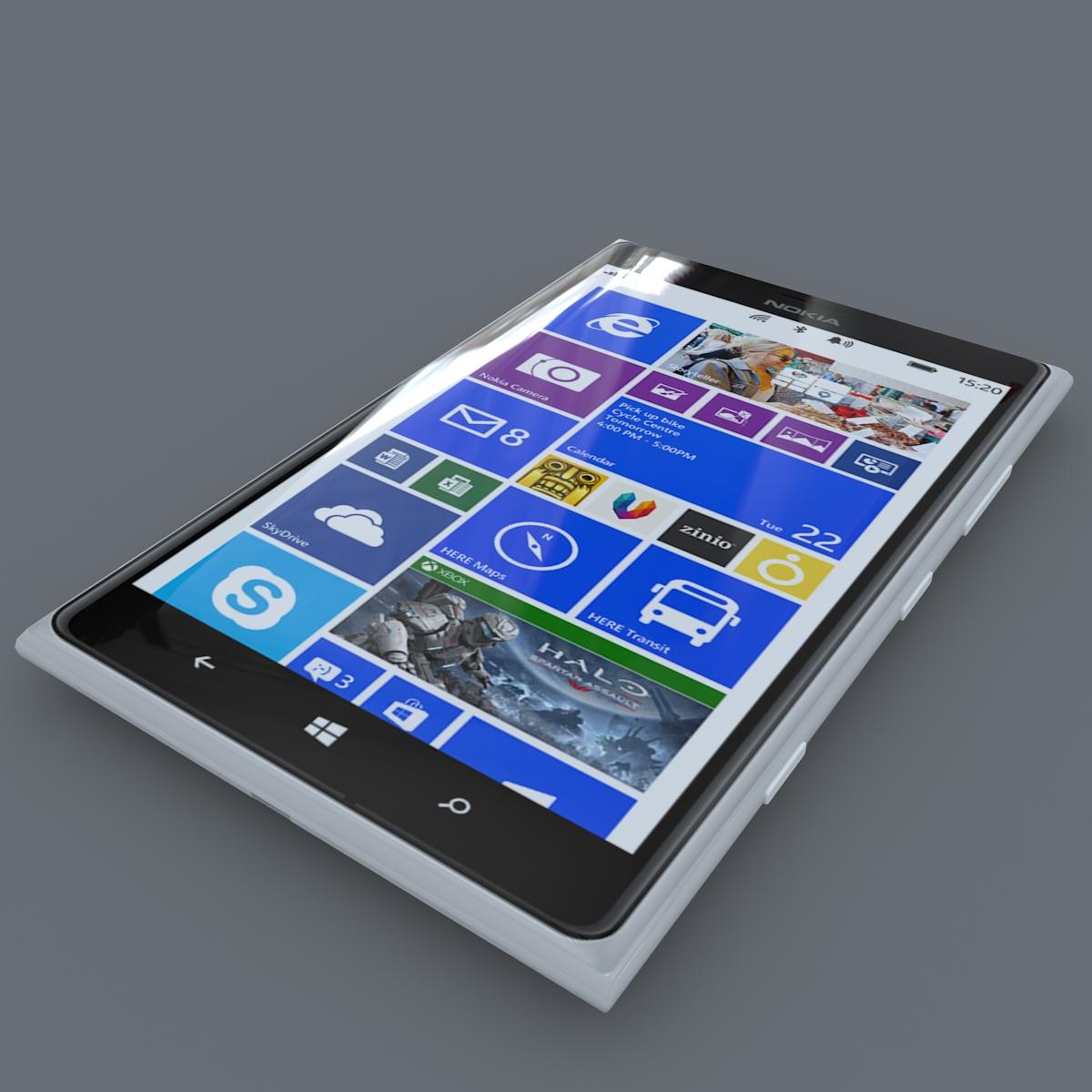 nokia lumia 1520 bijela 3d model max fbx c4d lxo ma mb obj 158421