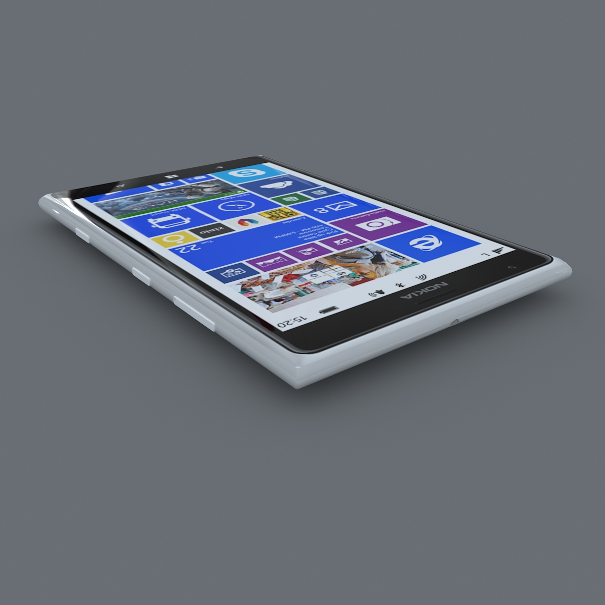 nokia lumia 1520 white 3d model max fbx c4d lxo ma mb obj 158423