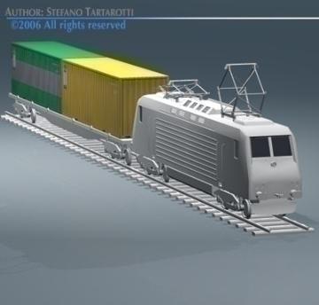 european cargo train 3d model 3ds dxf obj 77764
