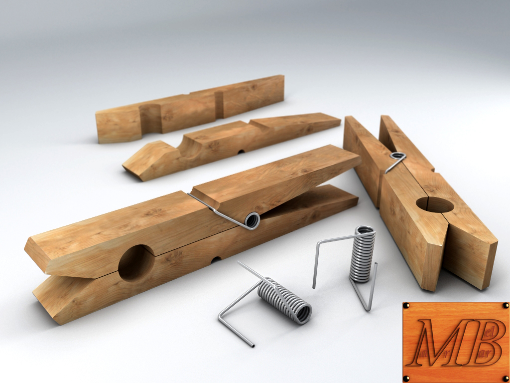 clothespin 3d model 3ds max fbx c4d dae obj 156241