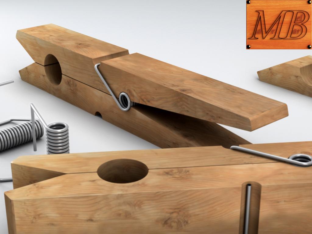 clothespin 3d model 3ds max fbx c4d dae obj 156242