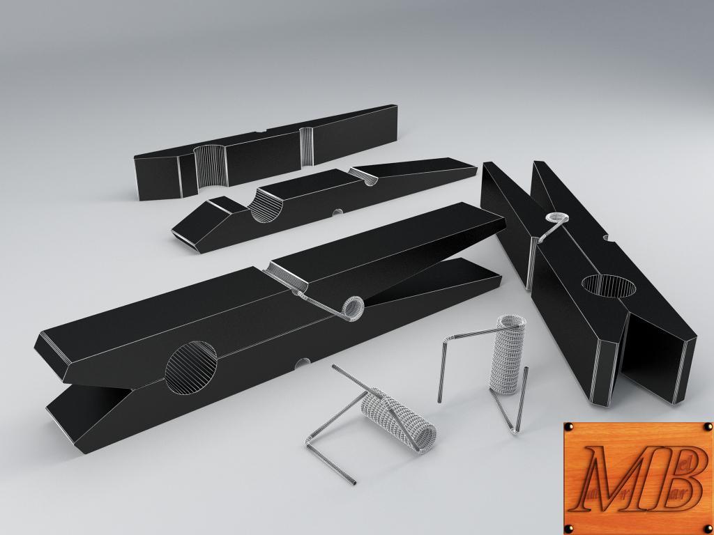 clothespin 3d model 3ds max fbx c4d dae obj 156244