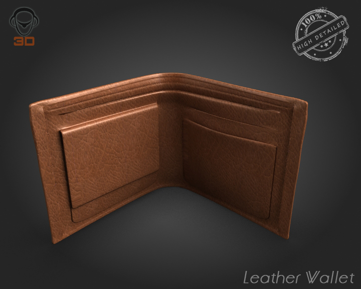 leather wallet 3d model 3ds max fbx obj 137609