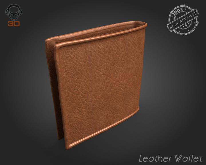 leather wallet 3d model 3ds max fbx obj 137611