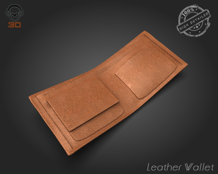 leather wallet 3d model 3ds max fbx obj 137612