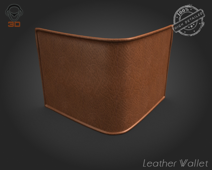 leather wallet 3d model 3ds max fbx obj 137614