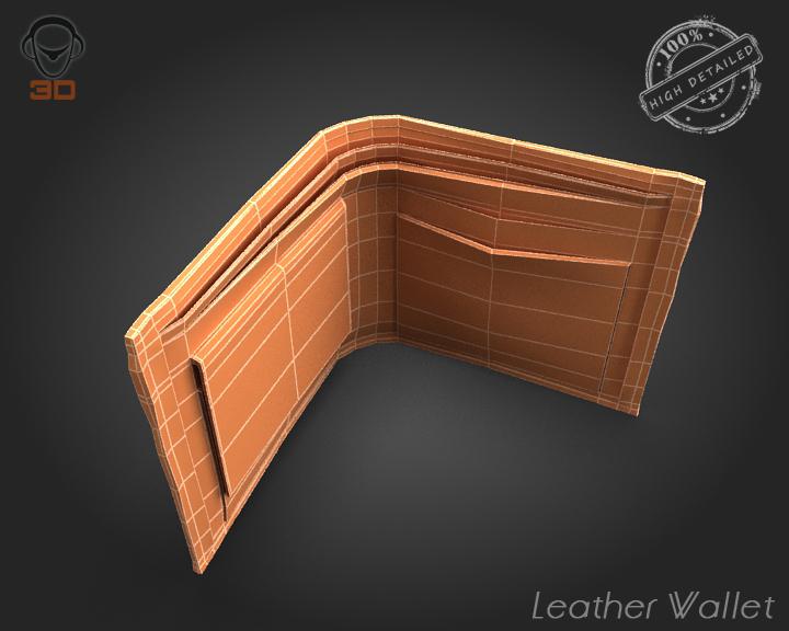 leather wallet 3d model 3ds max fbx obj 137616